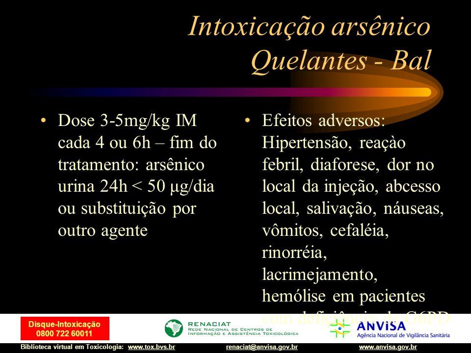 26 Disque-Intoxicação 0800 722 60011 Biblioteca virtual em Toxicologia: www.tox.bvs.brwww.anvisa.gov.brrenaciat@anvisa.gov.br Intoxicação arsênico Que
