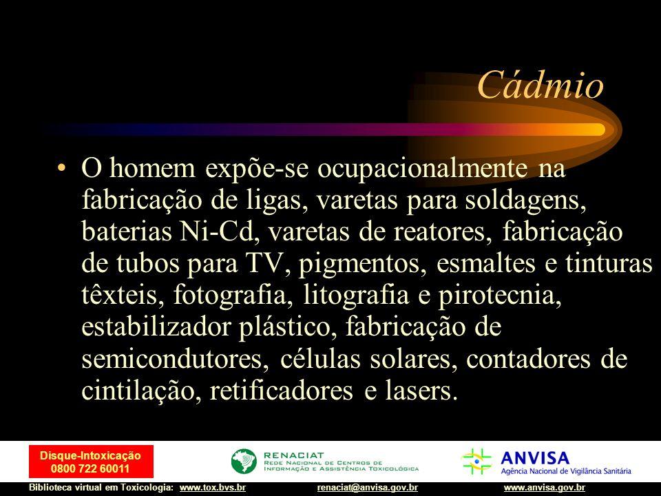 30 Disque-Intoxicação 0800 722 60011 Biblioteca virtual em Toxicologia: www.tox.bvs.brwww.anvisa.gov.brrenaciat@anvisa.gov.br Cádmio O homem expõe-se