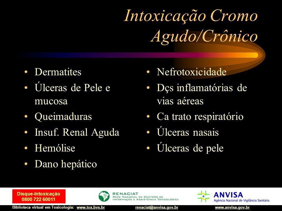 33 Disque-Intoxicação 0800 722 60011 Biblioteca virtual em Toxicologia: www.tox.bvs.brwww.anvisa.gov.brrenaciat@anvisa.gov.br Intoxicação Cromo Agudo/