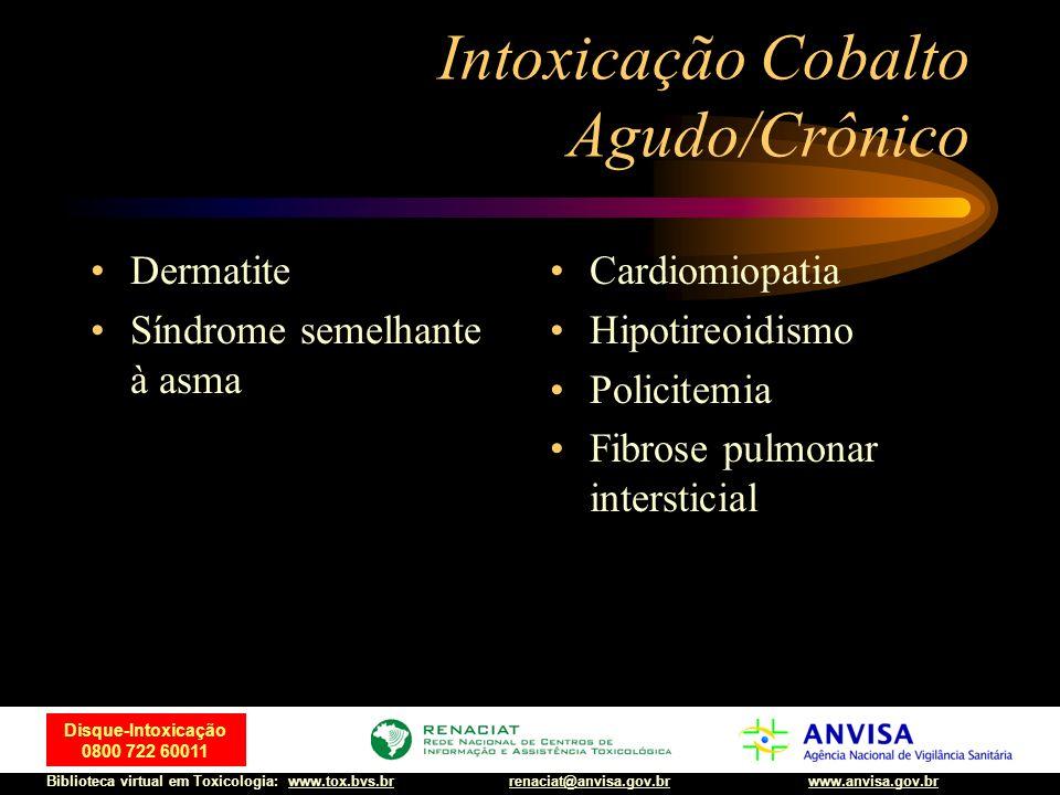 35 Disque-Intoxicação 0800 722 60011 Biblioteca virtual em Toxicologia: www.tox.bvs.brwww.anvisa.gov.brrenaciat@anvisa.gov.br Intoxicação Cobalto Agud