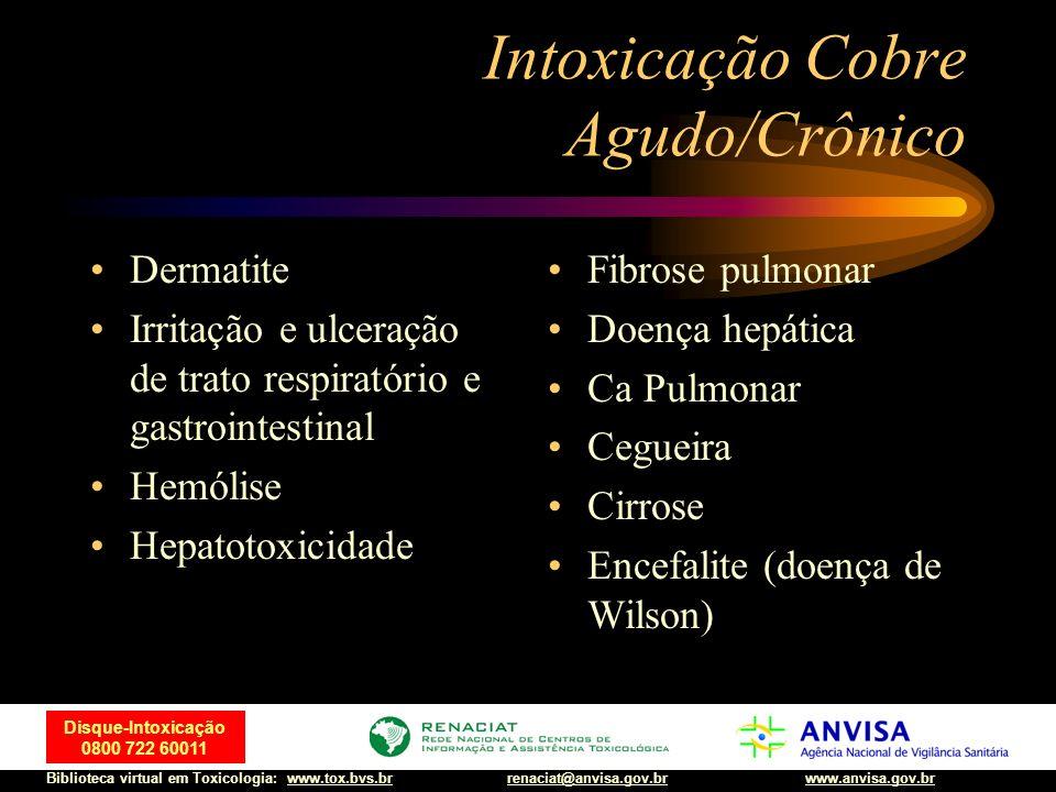 37 Disque-Intoxicação 0800 722 60011 Biblioteca virtual em Toxicologia: www.tox.bvs.brwww.anvisa.gov.brrenaciat@anvisa.gov.br Intoxicação Cobre Agudo/