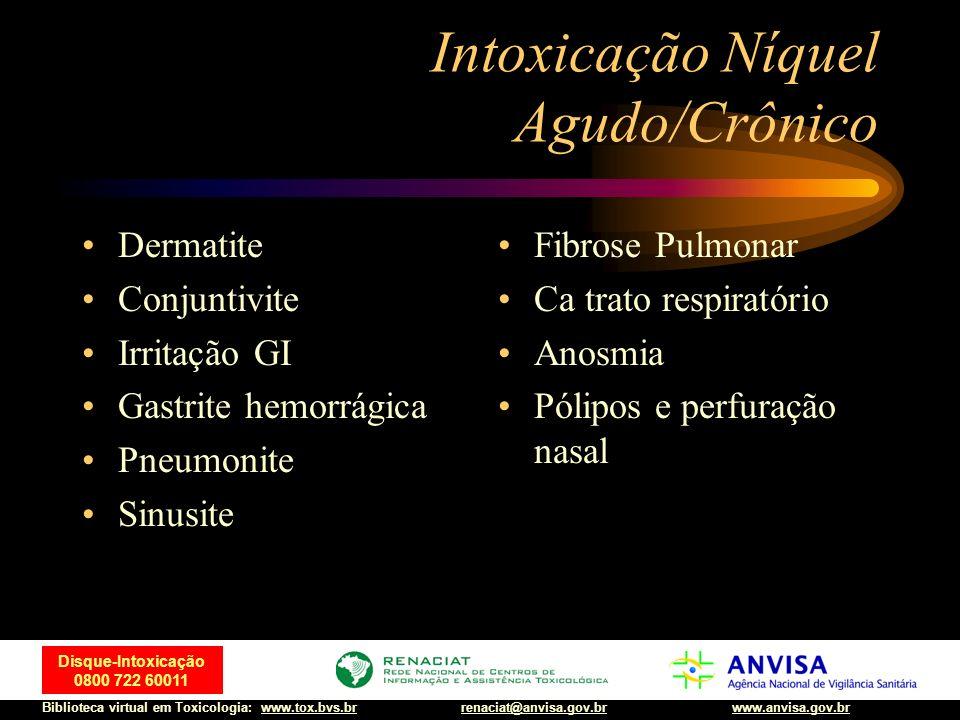 39 Disque-Intoxicação 0800 722 60011 Biblioteca virtual em Toxicologia: www.tox.bvs.brwww.anvisa.gov.brrenaciat@anvisa.gov.br Intoxicação Níquel Agudo
