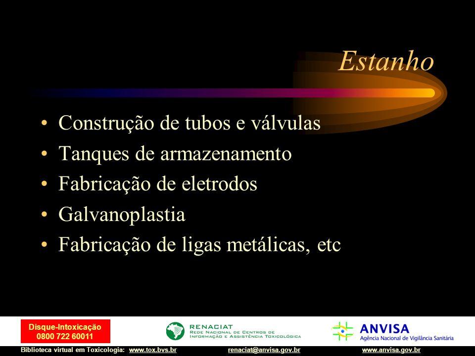 44 Disque-Intoxicação 0800 722 60011 Biblioteca virtual em Toxicologia: www.tox.bvs.brwww.anvisa.gov.brrenaciat@anvisa.gov.br Estanho Construção de tu