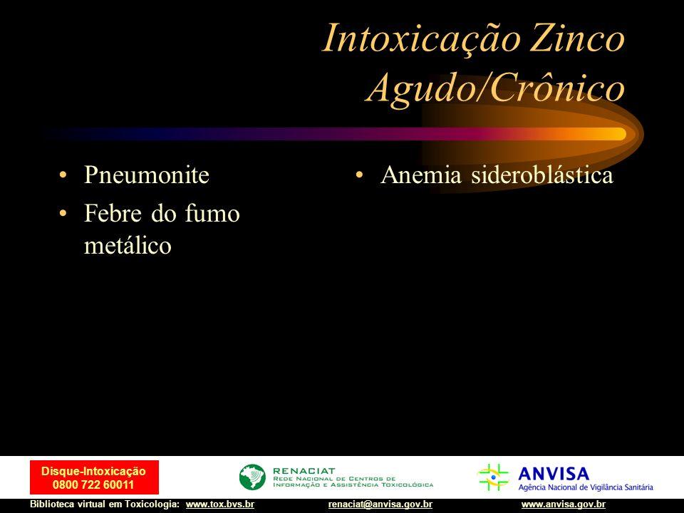 47 Disque-Intoxicação 0800 722 60011 Biblioteca virtual em Toxicologia: www.tox.bvs.brwww.anvisa.gov.brrenaciat@anvisa.gov.br Intoxicação Zinco Agudo/