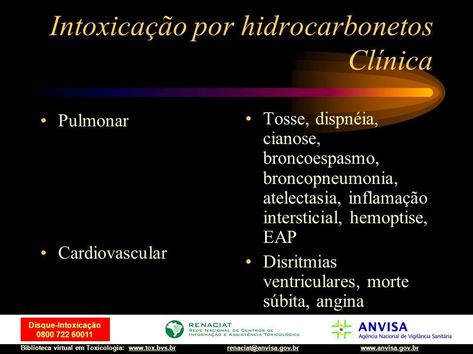 64 Disque-Intoxicação 0800 722 60011 Biblioteca virtual em Toxicologia: www.tox.bvs.brwww.anvisa.gov.brrenaciat@anvisa.gov.br Intoxicação por hidrocar