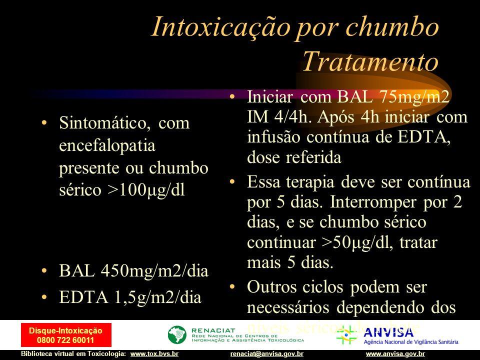 8 Disque-Intoxicação 0800 722 60011 Biblioteca virtual em Toxicologia: www.tox.bvs.brwww.anvisa.gov.brrenaciat@anvisa.gov.br Intoxicação por chumbo Tratamento Sintomático, sem encefalopatia BAL 300mg/m2/dia EDTA 1g/m2/dia Iniciar com BAL 50mg/m2 IM 4/4h, após 4h iniciar com EDTA dose referida, de preferência por infusão contínua ou doses divididas EV A terapia com EDTA deve ser 5 dias BAL deverá ser suspenso após 3 dias se chumbo sérico 50μg/dl, tratar mais 5 dias Outros ciclos podem ser necessários dependendo dos níveis séricos de rebote