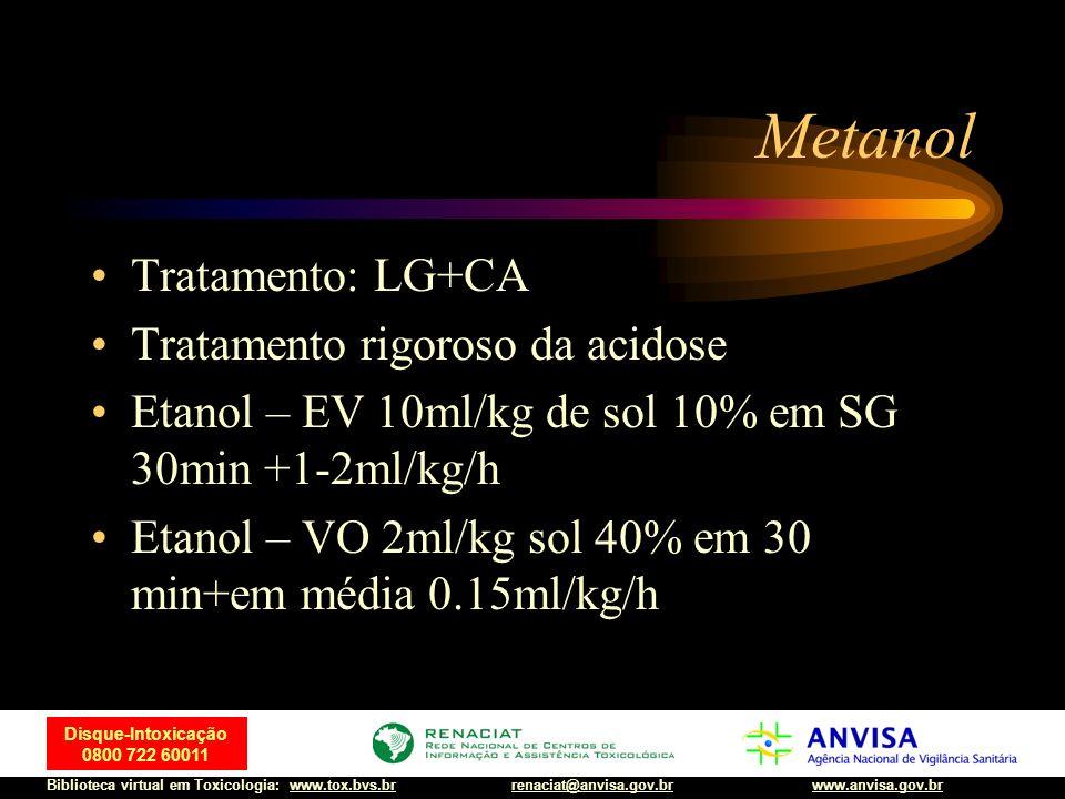 72 Disque-Intoxicação 0800 722 60011 Biblioteca virtual em Toxicologia: www.tox.bvs.brwww.anvisa.gov.brrenaciat@anvisa.gov.br Metanol Tratamento: LG+C