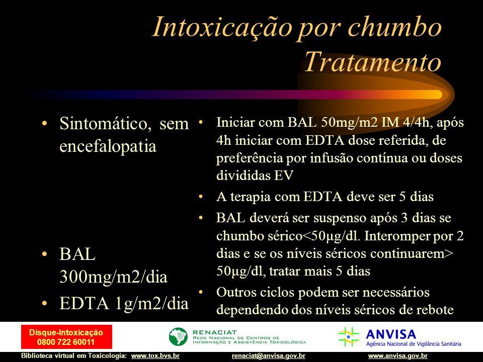 9 Disque-Intoxicação 0800 722 60011 Biblioteca virtual em Toxicologia: www.tox.bvs.brwww.anvisa.gov.brrenaciat@anvisa.gov.br Intoxicação por chumbo Tratamento Assintomático, após tratamento, com medição dos níveis de chumbo < ou = 100μg/dl BAL 300mg/m2/dia EDTA 1g/m2/dia Iniciar com BAL 50mg/m2 IM 4/4h, após 4h iniciar com EDTA dose referida, de preferência por infusão contínua ou doses divididas EV A terapia com EDTA deve ser 5 dias BAL deverá ser suspenso após 3 dias se chumbo sérico<50μg/dl.