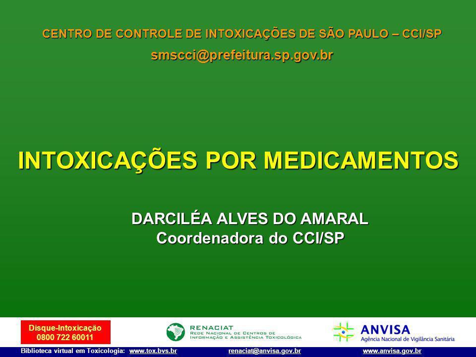 Disque-Intoxicação 0800 722 60011 Biblioteca virtual em Toxicologia: www.tox.bvs.brwww.anvisa.gov.brrenaciat@anvisa.gov.br CENTRO DE CONTROLE DE INTOX