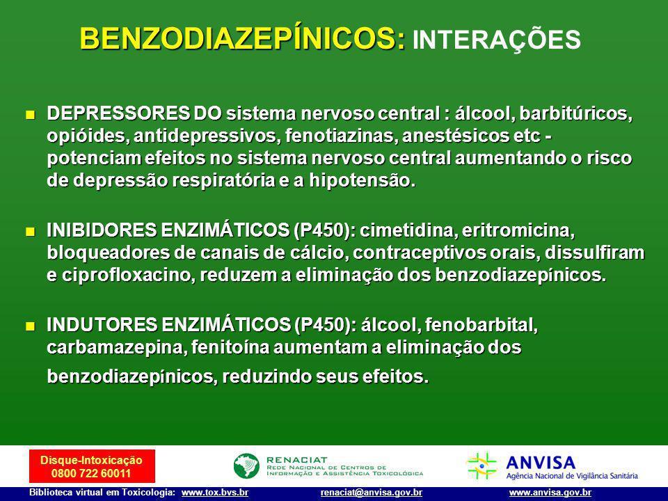 Disque-Intoxicação 0800 722 60011 Biblioteca virtual em Toxicologia: www.tox.bvs.brwww.anvisa.gov.brrenaciat@anvisa.gov.br BENZODIAZEPÍNICOS: BENZODIA