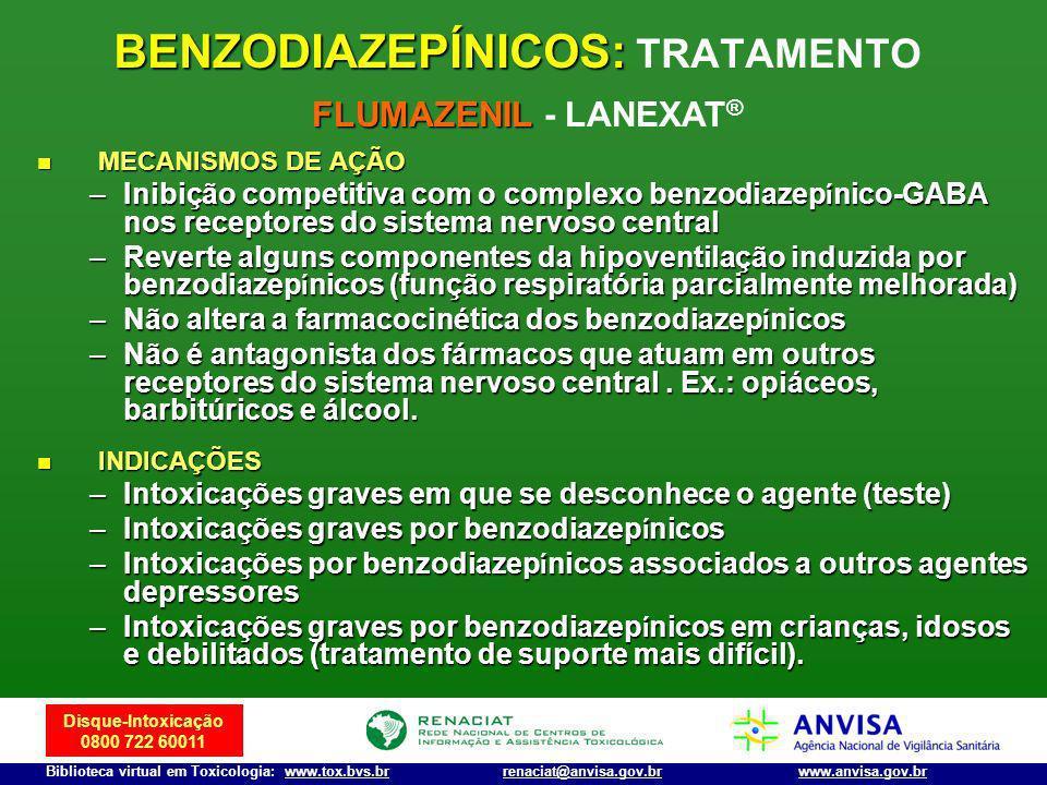 Disque-Intoxicação 0800 722 60011 Biblioteca virtual em Toxicologia: www.tox.bvs.brwww.anvisa.gov.brrenaciat@anvisa.gov.br MECANISMOS DE AÇÃO MECANISM