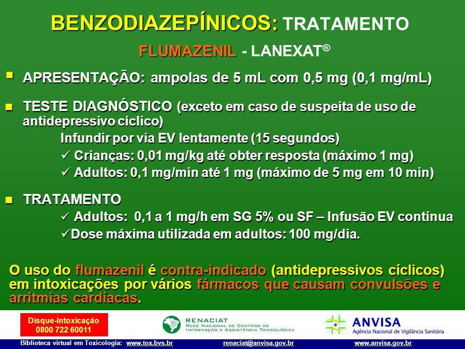 Disque-Intoxicação 0800 722 60011 Biblioteca virtual em Toxicologia: www.tox.bvs.brwww.anvisa.gov.brrenaciat@anvisa.gov.br APRESENTAÇÃO: ampolas de 5