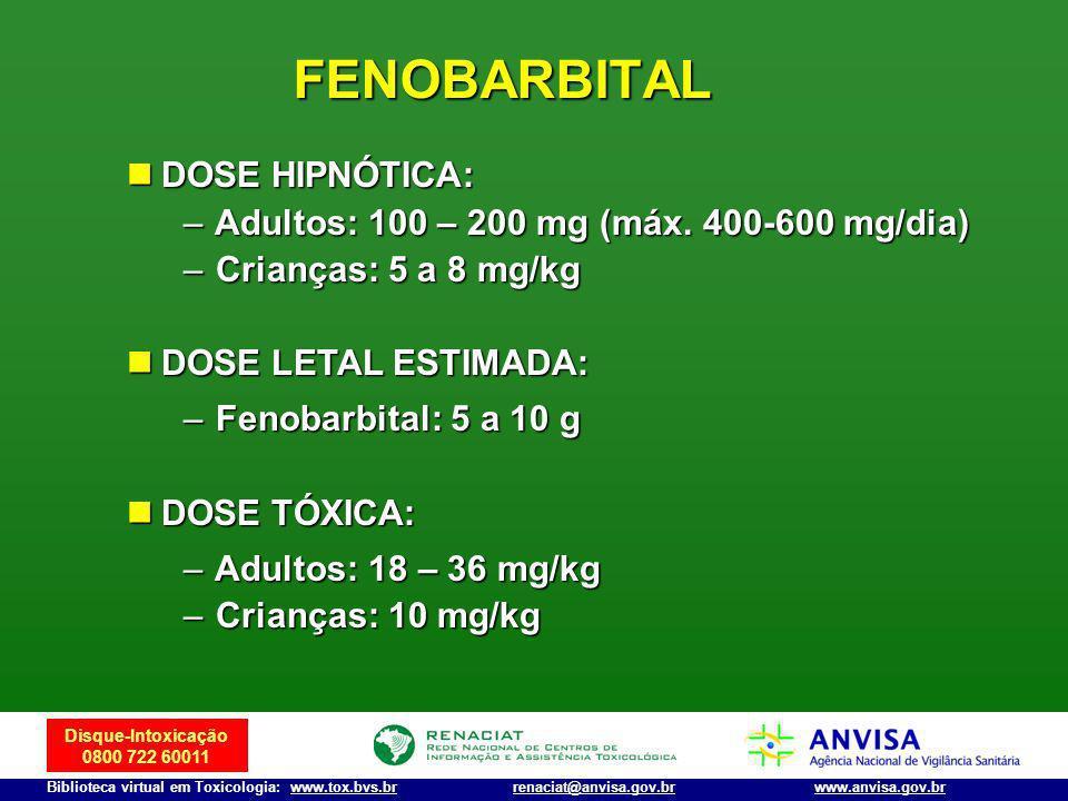 Disque-Intoxicação 0800 722 60011 Biblioteca virtual em Toxicologia: www.tox.bvs.brwww.anvisa.gov.brrenaciat@anvisa.gov.br FENOBARBITAL DOSE HIPNÓTICA