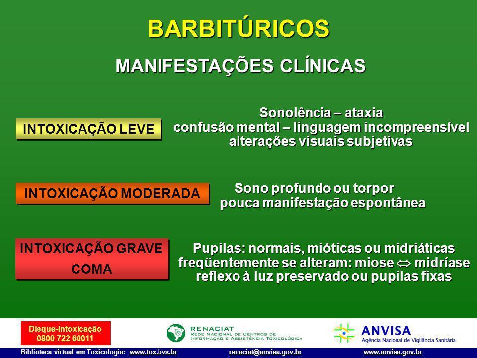 Disque-Intoxicação 0800 722 60011 Biblioteca virtual em Toxicologia: www.tox.bvs.brwww.anvisa.gov.brrenaciat@anvisa.gov.br BARBITÚRICOS Sonolência – a