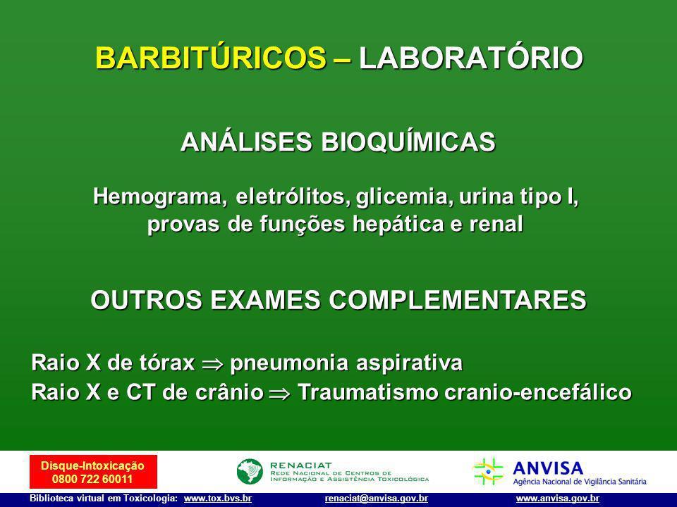 Disque-Intoxicação 0800 722 60011 Biblioteca virtual em Toxicologia: www.tox.bvs.brwww.anvisa.gov.brrenaciat@anvisa.gov.br BARBITÚRICOS – LABORATÓRIO