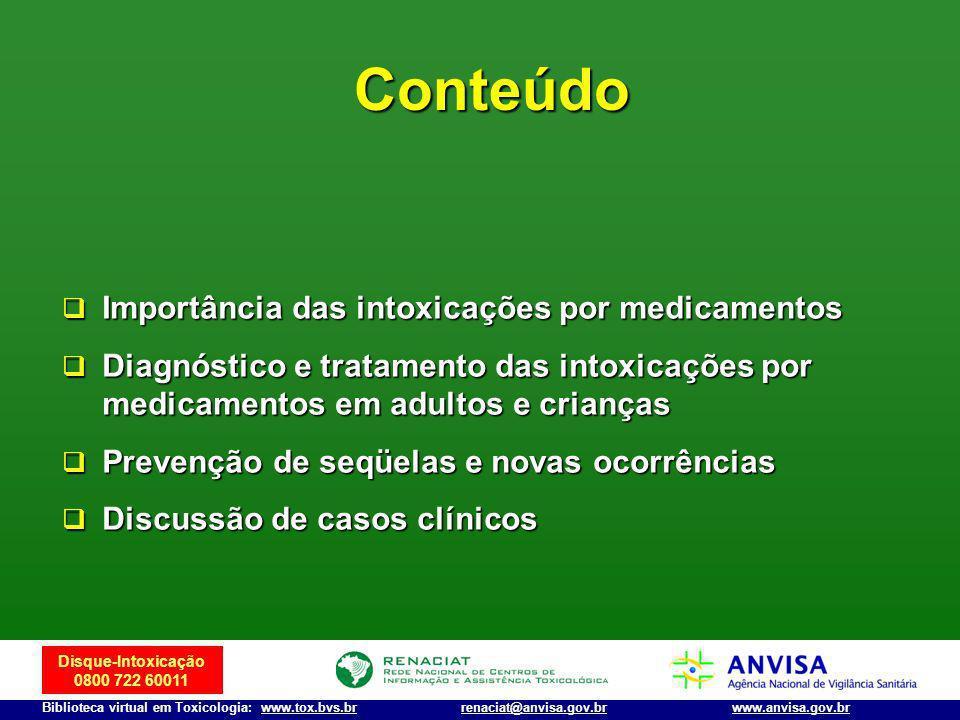 Disque-Intoxicação 0800 722 60011 Biblioteca virtual em Toxicologia: www.tox.bvs.brwww.anvisa.gov.brrenaciat@anvisa.gov.br Conteúdo Importância das in