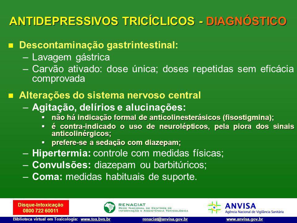 Disque-Intoxicação 0800 722 60011 Biblioteca virtual em Toxicologia: www.tox.bvs.brwww.anvisa.gov.brrenaciat@anvisa.gov.br Descontaminação gastrintest