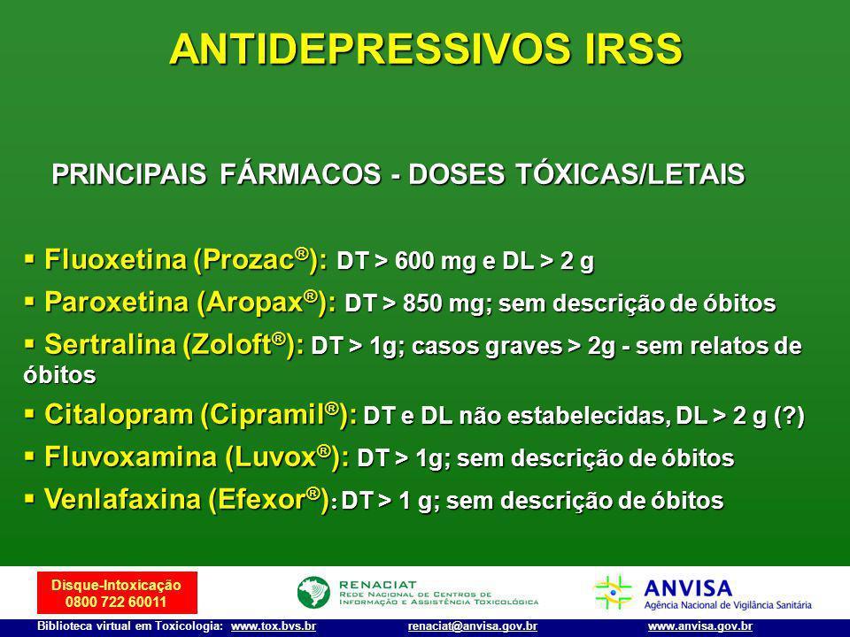 Disque-Intoxicação 0800 722 60011 Biblioteca virtual em Toxicologia: www.tox.bvs.brwww.anvisa.gov.brrenaciat@anvisa.gov.br ANTIDEPRESSIVOS IRSS Fluoxe