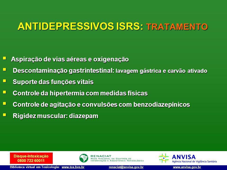 Disque-Intoxicação 0800 722 60011 Biblioteca virtual em Toxicologia: www.tox.bvs.brwww.anvisa.gov.brrenaciat@anvisa.gov.br Aspiração de vias aéreas e
