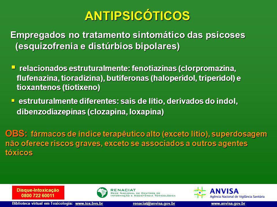 Disque-Intoxicação 0800 722 60011 Biblioteca virtual em Toxicologia: www.tox.bvs.brwww.anvisa.gov.brrenaciat@anvisa.gov.br ANTIPSICÓTICOS Empregados n