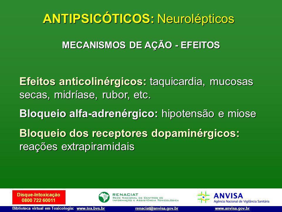 Disque-Intoxicação 0800 722 60011 Biblioteca virtual em Toxicologia: www.tox.bvs.brwww.anvisa.gov.brrenaciat@anvisa.gov.br MECANISMOS DE AÇÃO - EFEITO