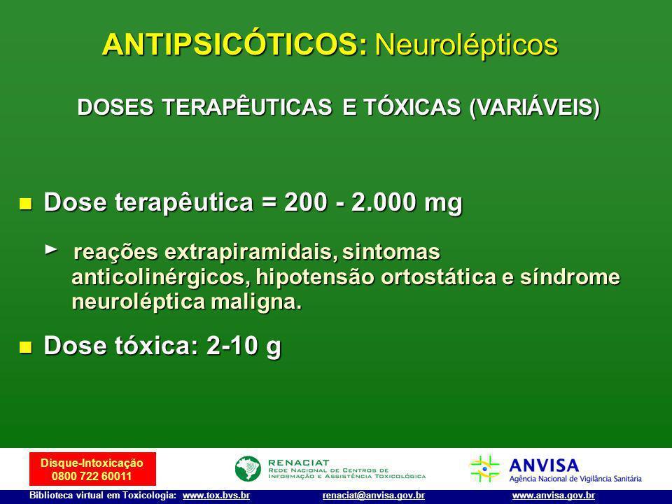 Disque-Intoxicação 0800 722 60011 Biblioteca virtual em Toxicologia: www.tox.bvs.brwww.anvisa.gov.brrenaciat@anvisa.gov.br Dose terapêutica = 200 - 2.