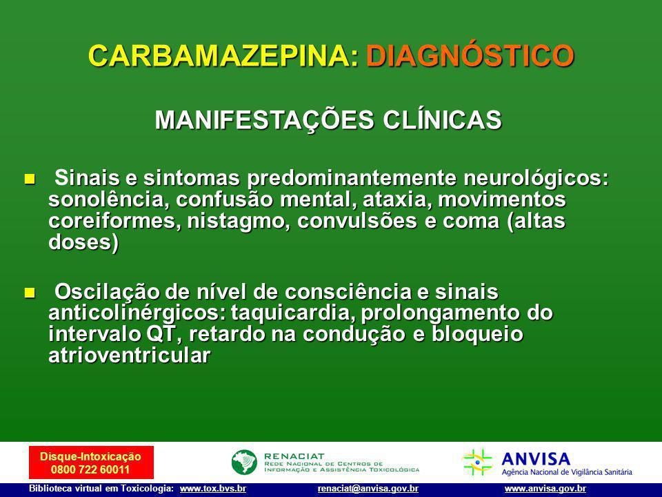 Disque-Intoxicação 0800 722 60011 Biblioteca virtual em Toxicologia: www.tox.bvs.brwww.anvisa.gov.brrenaciat@anvisa.gov.br inais e sintomas predominan