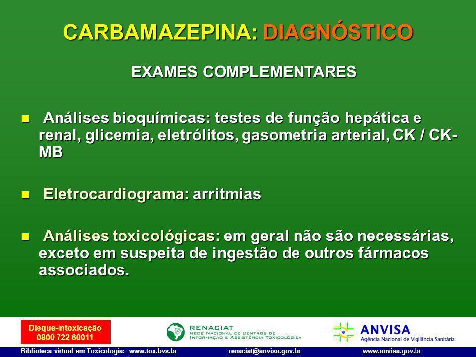 Disque-Intoxicação 0800 722 60011 Biblioteca virtual em Toxicologia: www.tox.bvs.brwww.anvisa.gov.brrenaciat@anvisa.gov.br Análises bioquímicas: teste