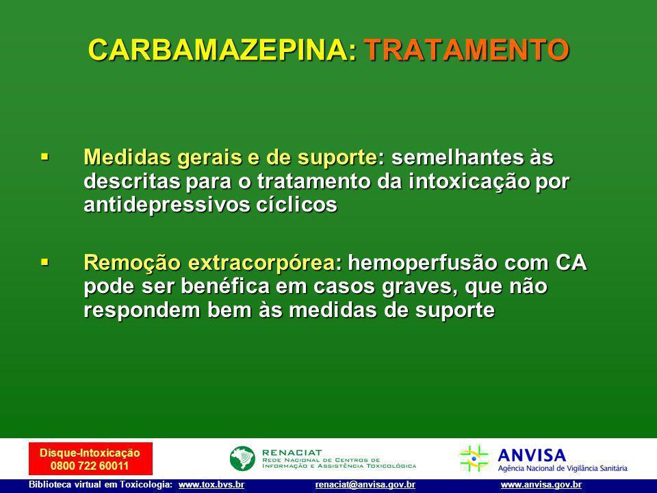 Disque-Intoxicação 0800 722 60011 Biblioteca virtual em Toxicologia: www.tox.bvs.brwww.anvisa.gov.brrenaciat@anvisa.gov.br Medidas gerais e de suporte