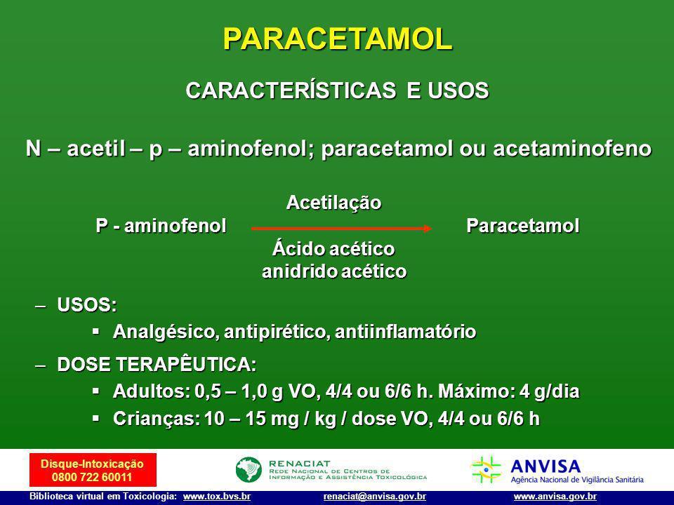 Disque-Intoxicação 0800 722 60011 Biblioteca virtual em Toxicologia: www.tox.bvs.brwww.anvisa.gov.brrenaciat@anvisa.gov.br PARACETAMOL N – acetil – p