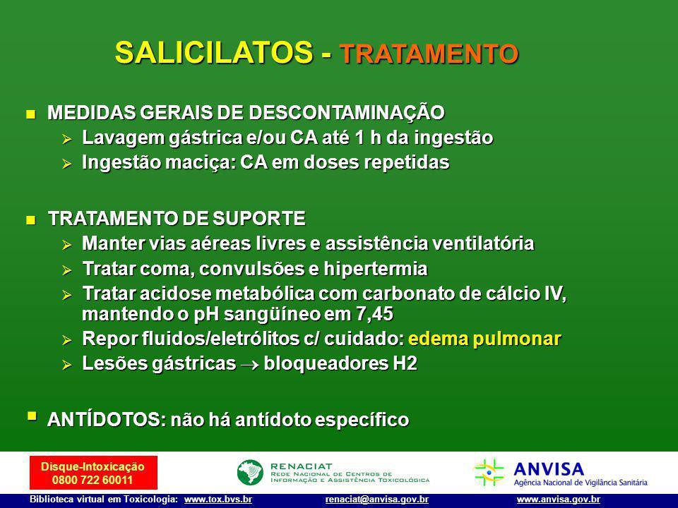 Disque-Intoxicação 0800 722 60011 Biblioteca virtual em Toxicologia: www.tox.bvs.brwww.anvisa.gov.brrenaciat@anvisa.gov.br SALICILATOS - TRATAMENTO ME