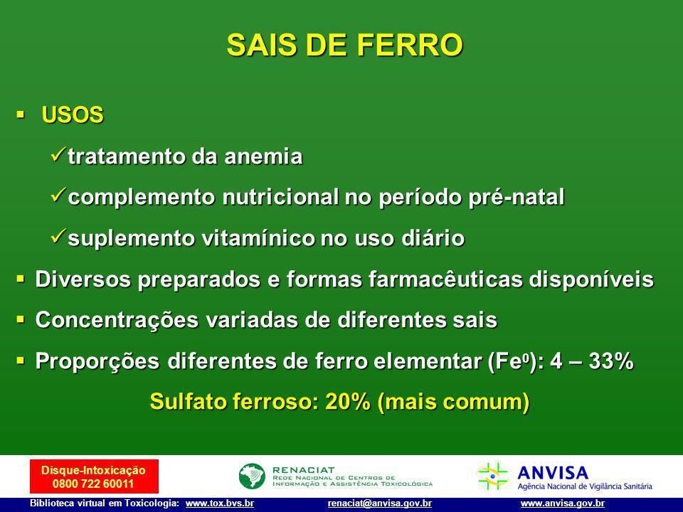 Disque-Intoxicação 0800 722 60011 Biblioteca virtual em Toxicologia: www.tox.bvs.brwww.anvisa.gov.brrenaciat@anvisa.gov.br SAIS DE FERRO USOS USOS tra