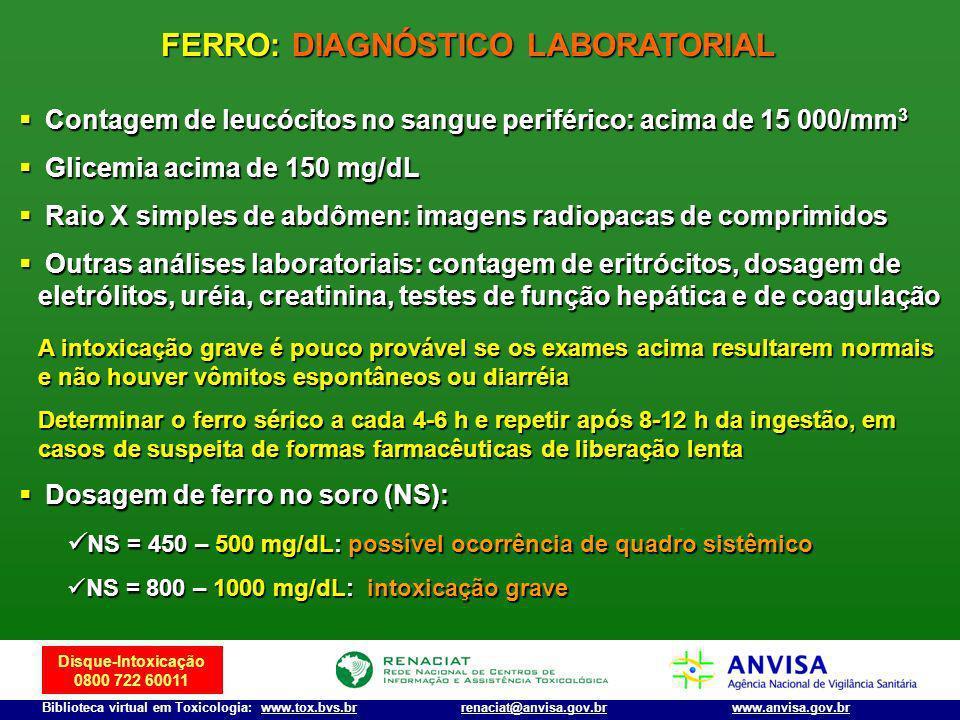 Disque-Intoxicação 0800 722 60011 Biblioteca virtual em Toxicologia: www.tox.bvs.brwww.anvisa.gov.brrenaciat@anvisa.gov.br Contagem de leucócitos no s