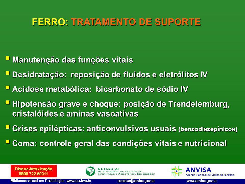 Disque-Intoxicação 0800 722 60011 Biblioteca virtual em Toxicologia: www.tox.bvs.brwww.anvisa.gov.brrenaciat@anvisa.gov.br Manutenção das funções vita