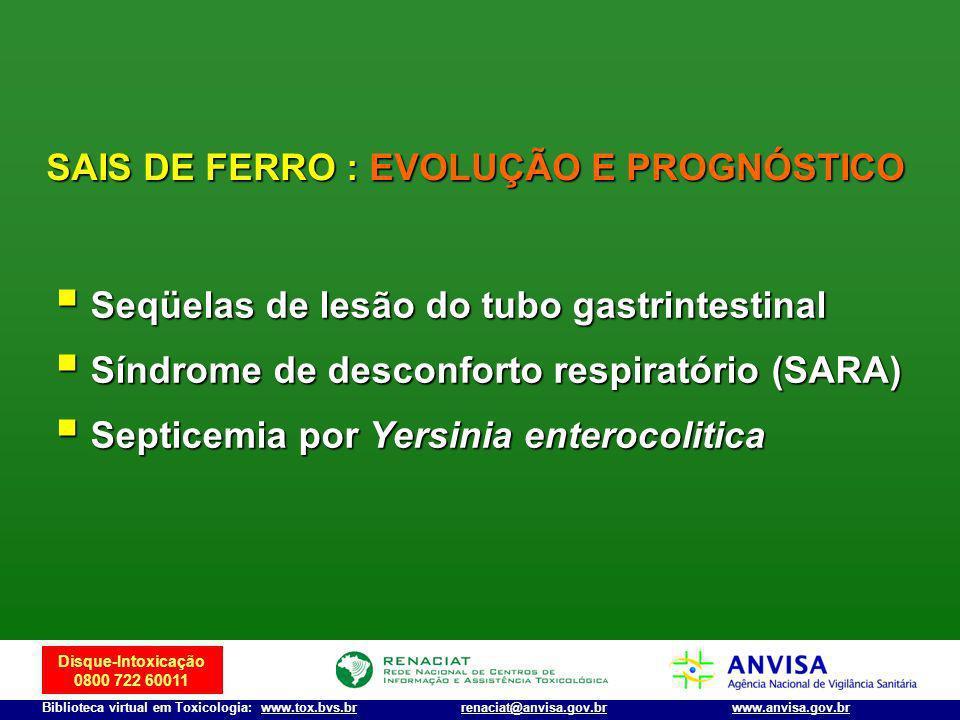 Disque-Intoxicação 0800 722 60011 Biblioteca virtual em Toxicologia: www.tox.bvs.brwww.anvisa.gov.brrenaciat@anvisa.gov.br SAIS DE FERRO : EVOLUÇÃO E