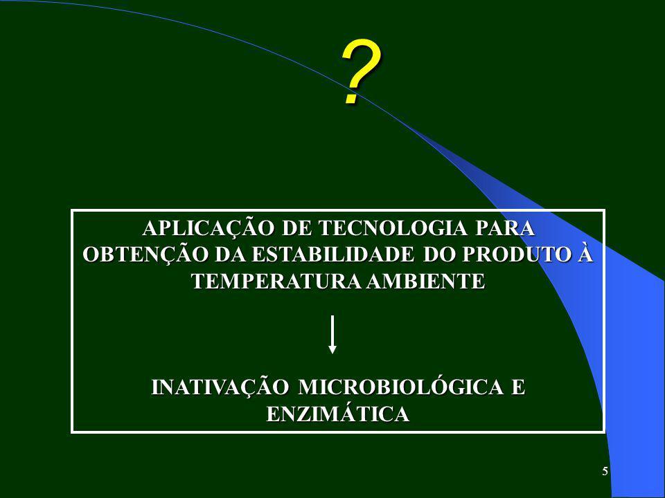 5 ? APLICAÇÃO DE TECNOLOGIA PARA OBTENÇÃO DA ESTABILIDADE DO PRODUTO À TEMPERATURA AMBIENTE INATIVAÇÃO MICROBIOLÓGICA E ENZIMÁTICA