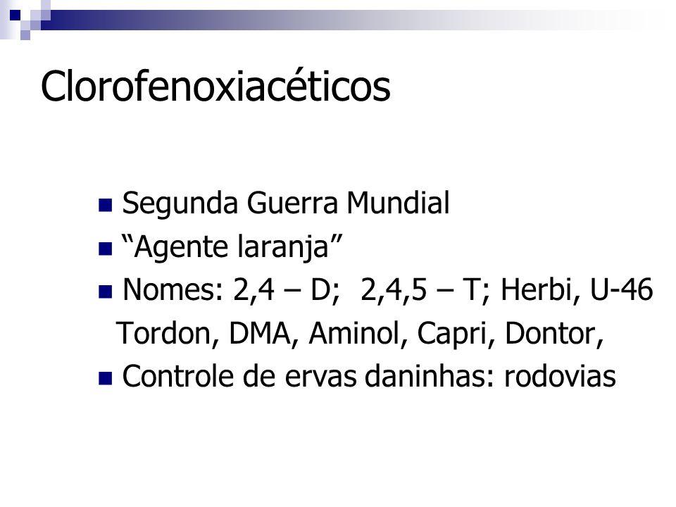 Clorofenoxiacéticos Segunda Guerra Mundial Agente laranja Nomes: 2,4 – D; 2,4,5 – T; Herbi, U-46 Tordon, DMA, Aminol, Capri, Dontor, Controle de ervas