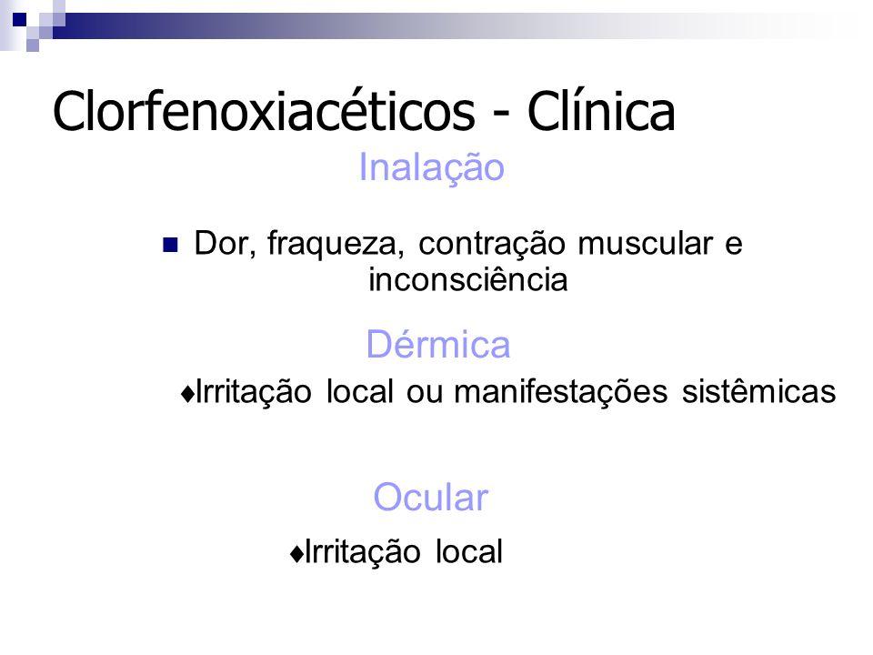 Clorfenoxiacéticos - Clínica Dor, fraqueza, contração muscular e inconsciência Inalação Irritação local ou manifestações sistêmicas Dérmica Ocular Irr