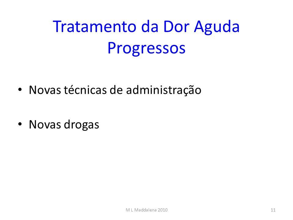 Tratamento da Dor Aguda Progressos Novas técnicas de administração Novas drogas 11M L Maddalena 2010