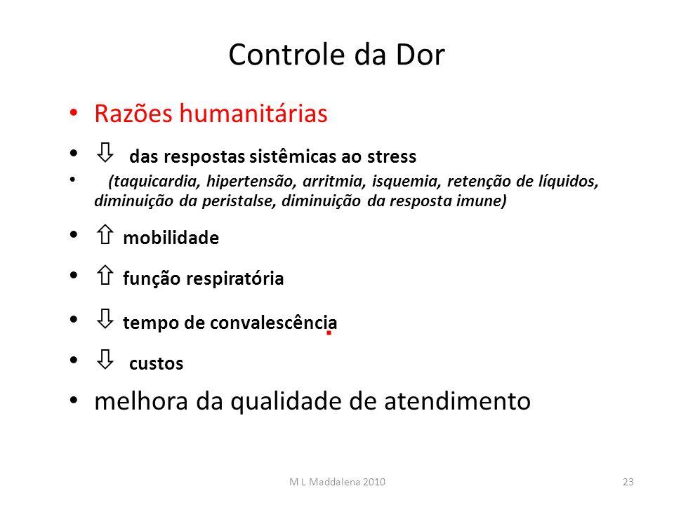 Controle da Dor Razões humanitárias das respostas sistêmicas ao stress (taquicardia, hipertensão, arritmia, isquemia, retenção de líquidos, diminuição