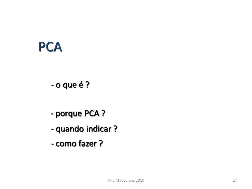 PCA - o que é ? - porque PCA ? - quando indicar ? - como fazer ? 27M L Maddalena 2010