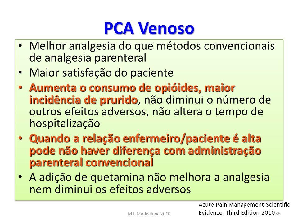 PCA Venoso Melhor analgesia do que métodos convencionais de analgesia parenteral Maior satisfação do paciente Aumenta o consumo de opióides, maior inc