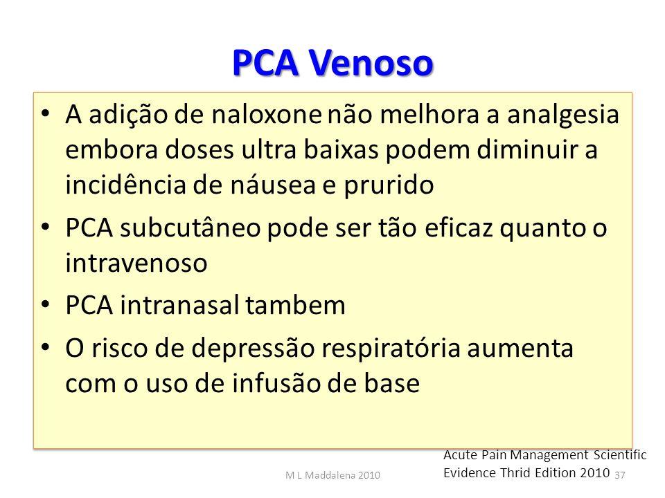 PCA Venoso A adição de naloxone não melhora a analgesia embora doses ultra baixas podem diminuir a incidência de náusea e prurido PCA subcutâneo pode