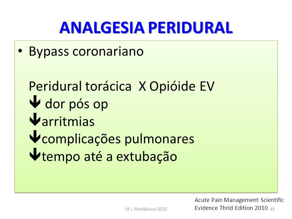 ANALGESIA PERIDURAL Bypass coronariano Peridural torácica X Opióide EV dor pós op arritmias complicações pulmonares tempo até a extubação M L Maddalen