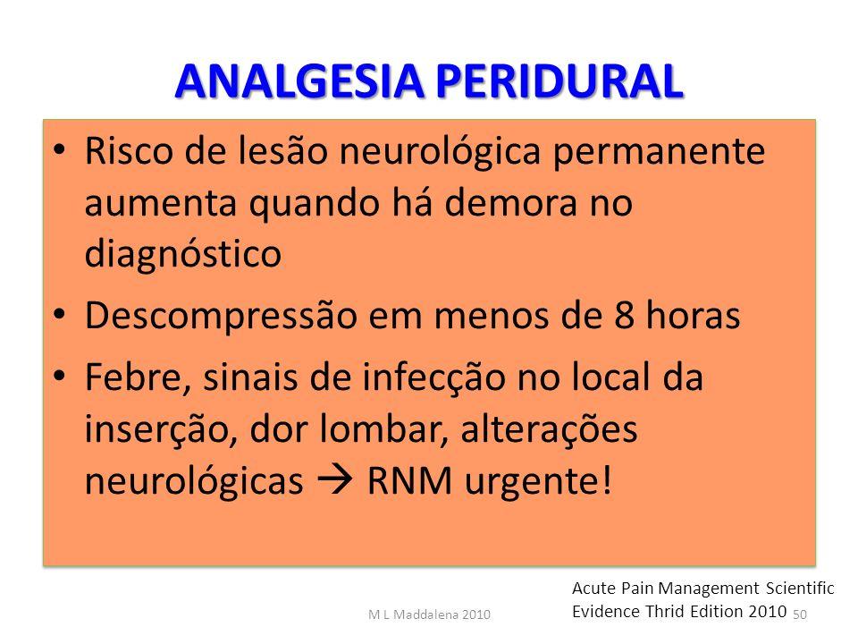 ANALGESIA PERIDURAL Risco de lesão neurológica permanente aumenta quando há demora no diagnóstico Descompressão em menos de 8 horas Febre, sinais de i