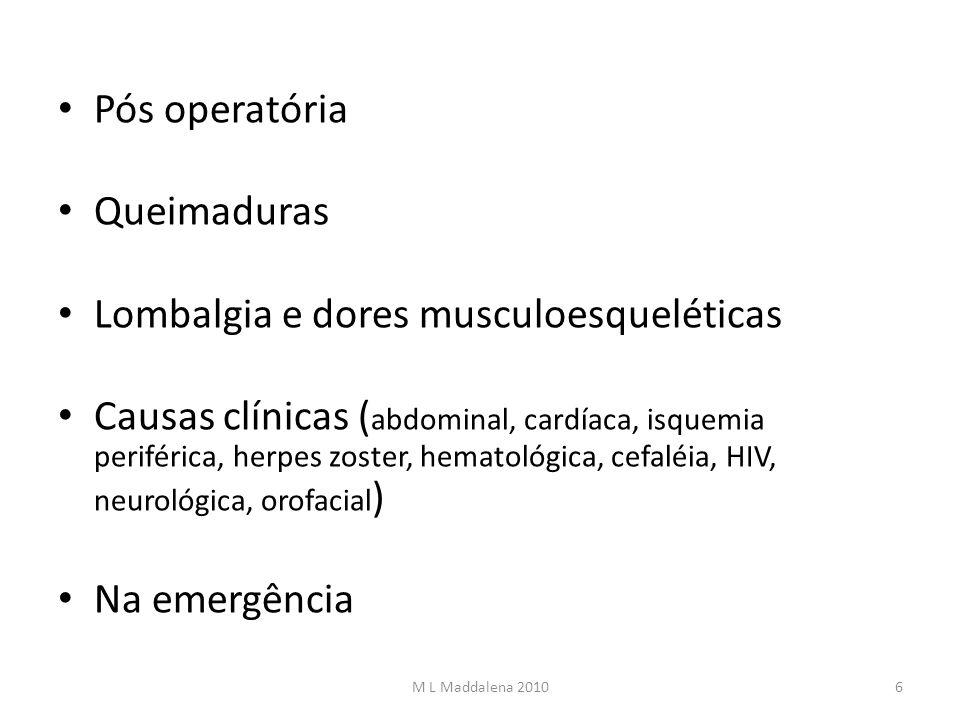 Pós operatória Queimaduras Lombalgia e dores musculoesqueléticas Causas clínicas ( abdominal, cardíaca, isquemia periférica, herpes zoster, hematológi
