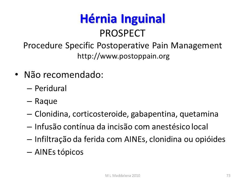 Hérnia Inguinal Hérnia Inguinal PROSPECT Procedure Specific Postoperative Pain Management http://www.postoppain.org Não recomendado: – Peridural – Raq