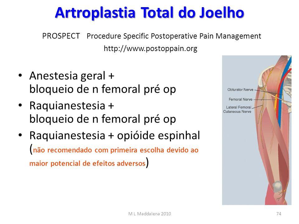Artroplastia Total do Joelho Artroplastia Total do Joelho PROSPECT Procedure Specific Postoperative Pain Management http://www.postoppain.org Anestesi
