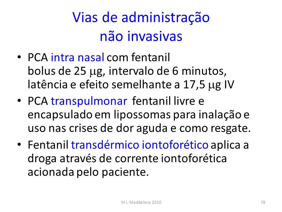 Vias de administração não invasivas PCA intra nasal com fentanil bolus de 25 g, intervalo de 6 minutos, latência e efeito semelhante a 17,5 g IV PCA t
