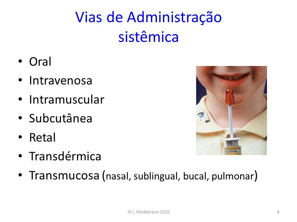 Vias de Administração sistêmica Oral Intravenosa Intramuscular Subcutânea Retal Transdérmica Transmucosa ( nasal, sublingual, bucal, pulmonar ) 8M L M